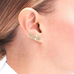 J Crew Crystal Floral Ear-Crawler Earrings